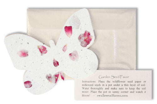 Plantable Paper Favors w/ Glassine Envelopes, Instruction Tags, & Embedded Flower Petals - Set of 25