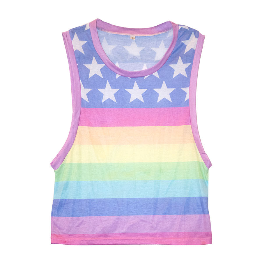 Rainbow Pride Flag Muscle Tee- Light Wash
