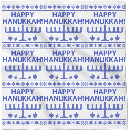 Happy Hanukkah Ugly Christmas Sweater Bandana, Bandanas, HEED THE HUM