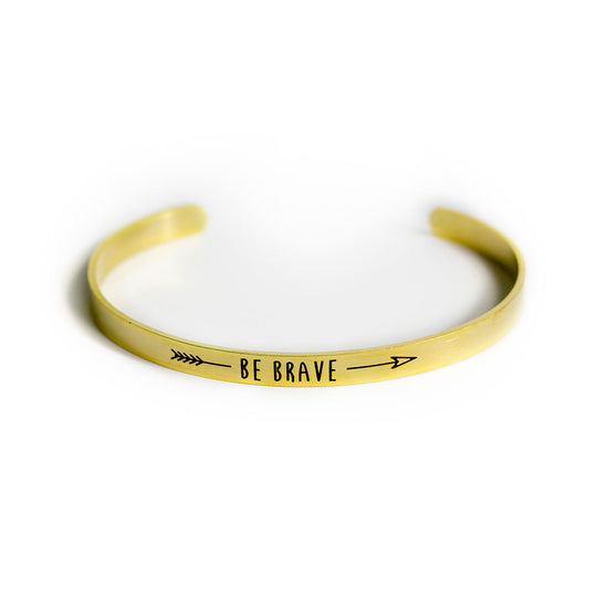 Be Brave Adjustable Bracelet Cuff - Silver Gold, Jewelry, HEED THE HUM