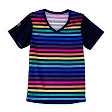 Rainbow Striped Unisex V-neck T-shirt - LGBTQIA+ Unisex Pride