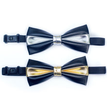 Faux Black Leather Bow Tie with Metallic Accent - Unisex, Bow tie, HEED THE HUM