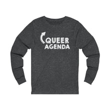 Queer Agenda Unisex Jersey Long Sleeve Tee Shirt - White Print, Long-sleeve, HEED THE HUM