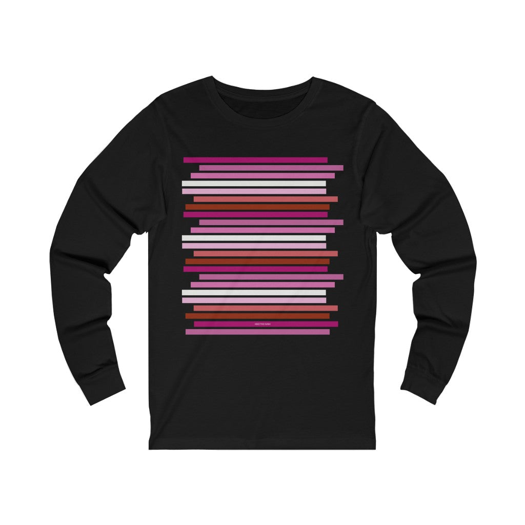Staggered Lesbian Pride Flag Unisex Jersey Long Sleeve Tee Shirt