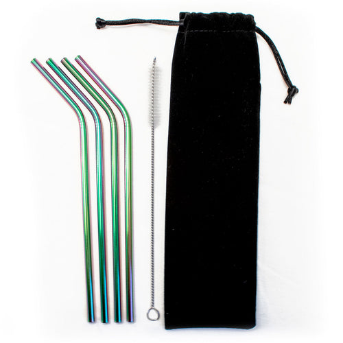 4 Stainless Steel Reusable Straws + Brush + Pouch - Rainbow, oil slick, Kitchen, HEED THE HUM