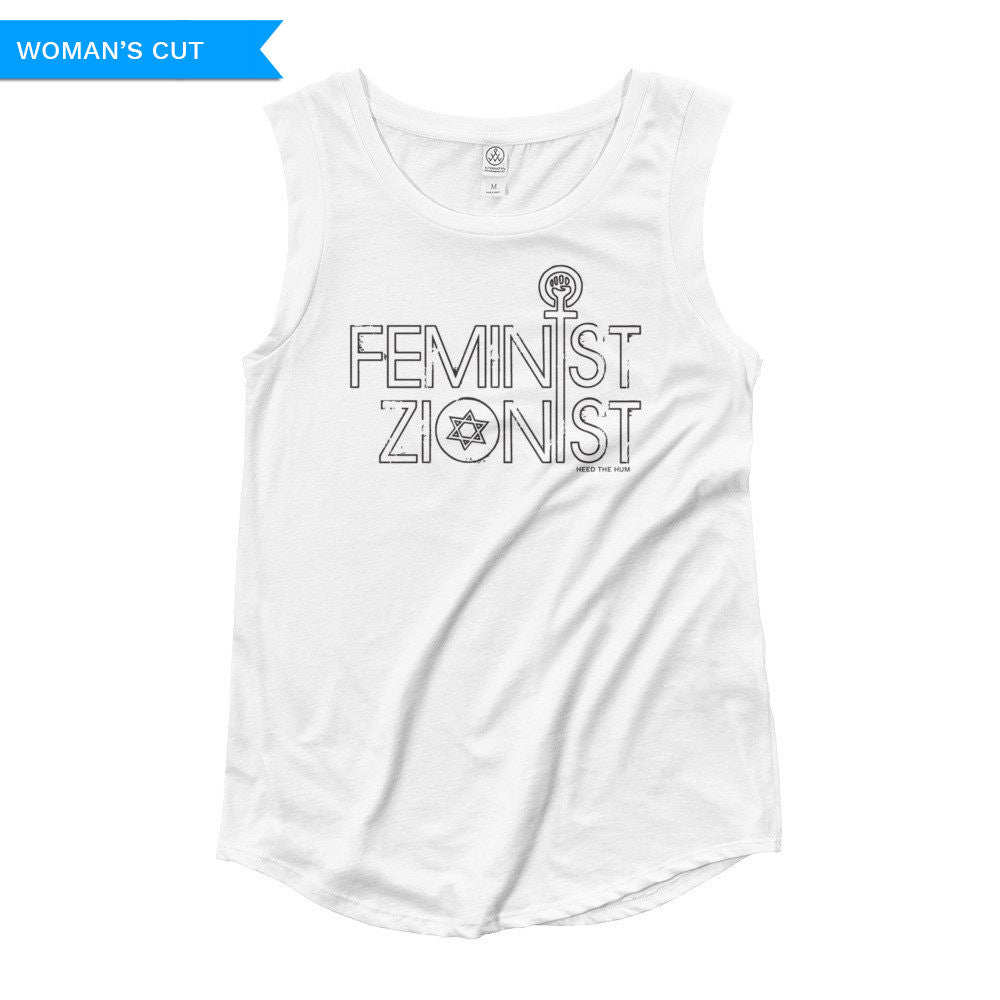 Feminist Zionist Woman's Cut Tank Top, Shirts, HEED THE HUM