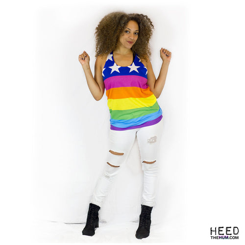 Queer LGBTQ Rainbow Flag Unisex Tank Top, Tank Top, HEED THE HUM