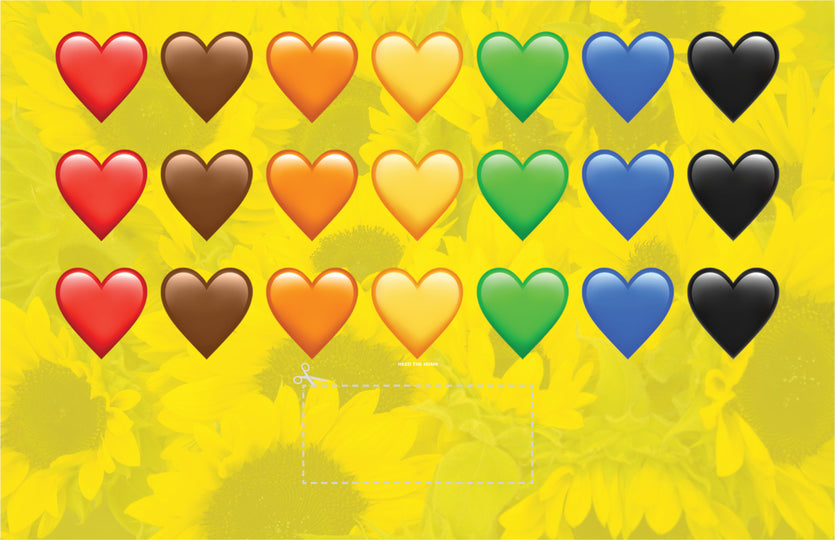 Rainbow Hearts on yellow sunflower protest sign