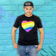 Rainbow Heart Black Unisex T-shirt - LGBTQ Queer Gay Pride, Shirt, HEED THE HUM