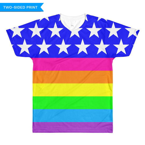 Queer LGBTQ Pride Flag Unisex T-shirt (double sided), Shirts, HEED THE HUM