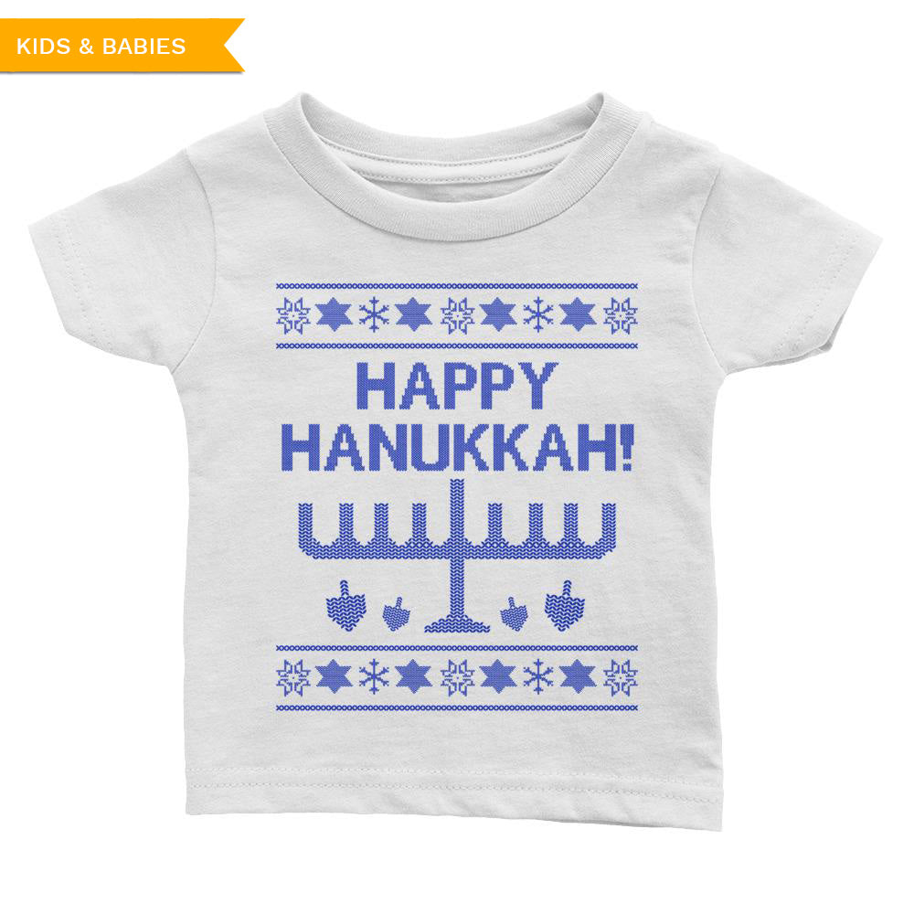 Happy Hanukkah Ugly Christmas Sweater Infant Tee, Shirts, HEED THE HUM