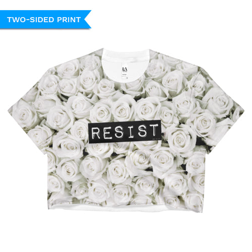 Roses Resist White Crop Top, Shirts, HEED THE HUM