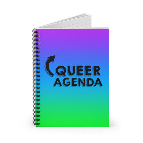 Queer Agenda Spiral Notebook - Purple, Blue, Green - LGBTQIA+, Paper products, HEED THE HUM