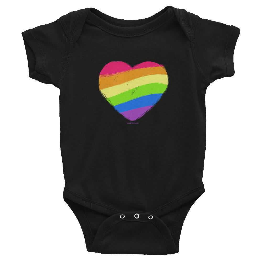 Gay pride infant onesie rainbow heart LGBTQ Queer clothing