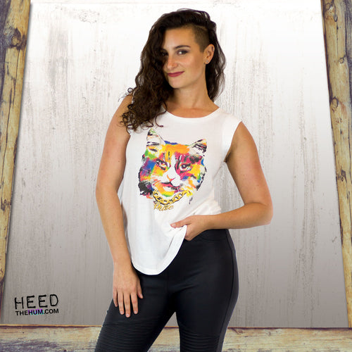 Pussy Pride Woman's Cut Cap Sleeve Shirt, Shirts, HEED THE HUM