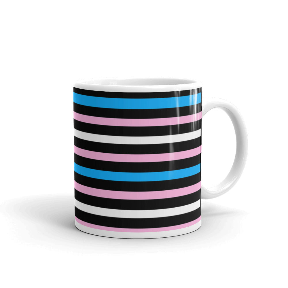 Trans Pride Flag Striped Mug -LGBTQ, Mugs, HEED THE HUM