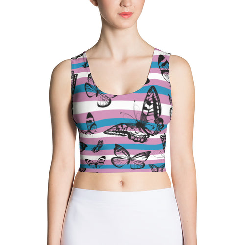 Trans Pride Flag Butterflies Cut & Sew Fitted Crop Top