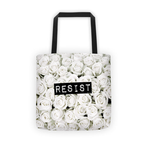 Roses Resist WhiteTote bag, Tote Bag, HEED THE HUM