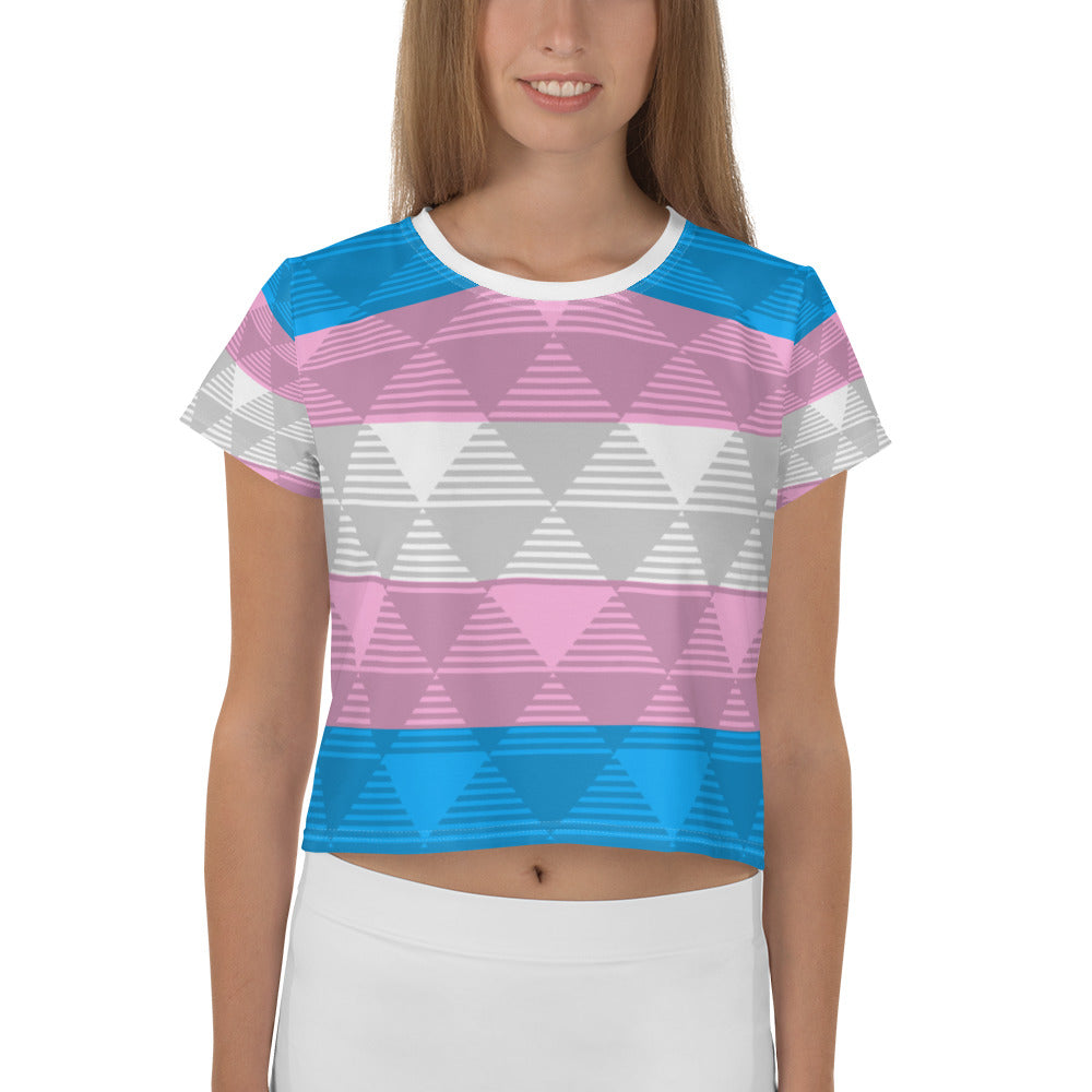 Trans Flag Light Crop Top All-Over Print, Shirts, HEED THE HUM