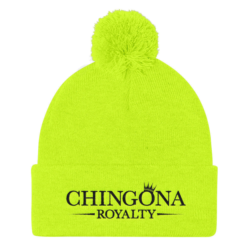 Chingona Royalty Pom Pom Knit Cap Hat, Hats, HEED THE HUM