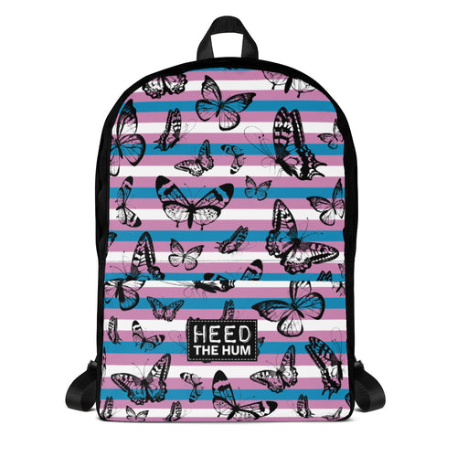Trans Pride Flag Butterflies Backpack, , HEED THE HUM