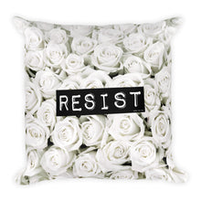 Roses Resist White Square Throw Pillow, Pillow, HEED THE HUM