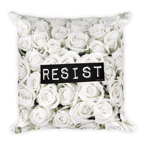 Roses Resist White Square Throw Pillow