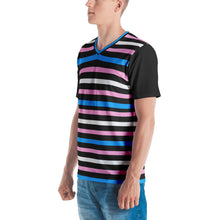 Trans Pride Flag Striped Men's V-neck T-shirt, , HEED THE HUM