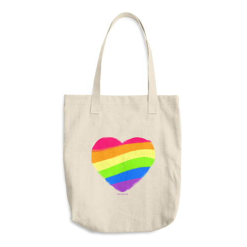 Gay pride tote bag rainbow heart LGBTQ Queer