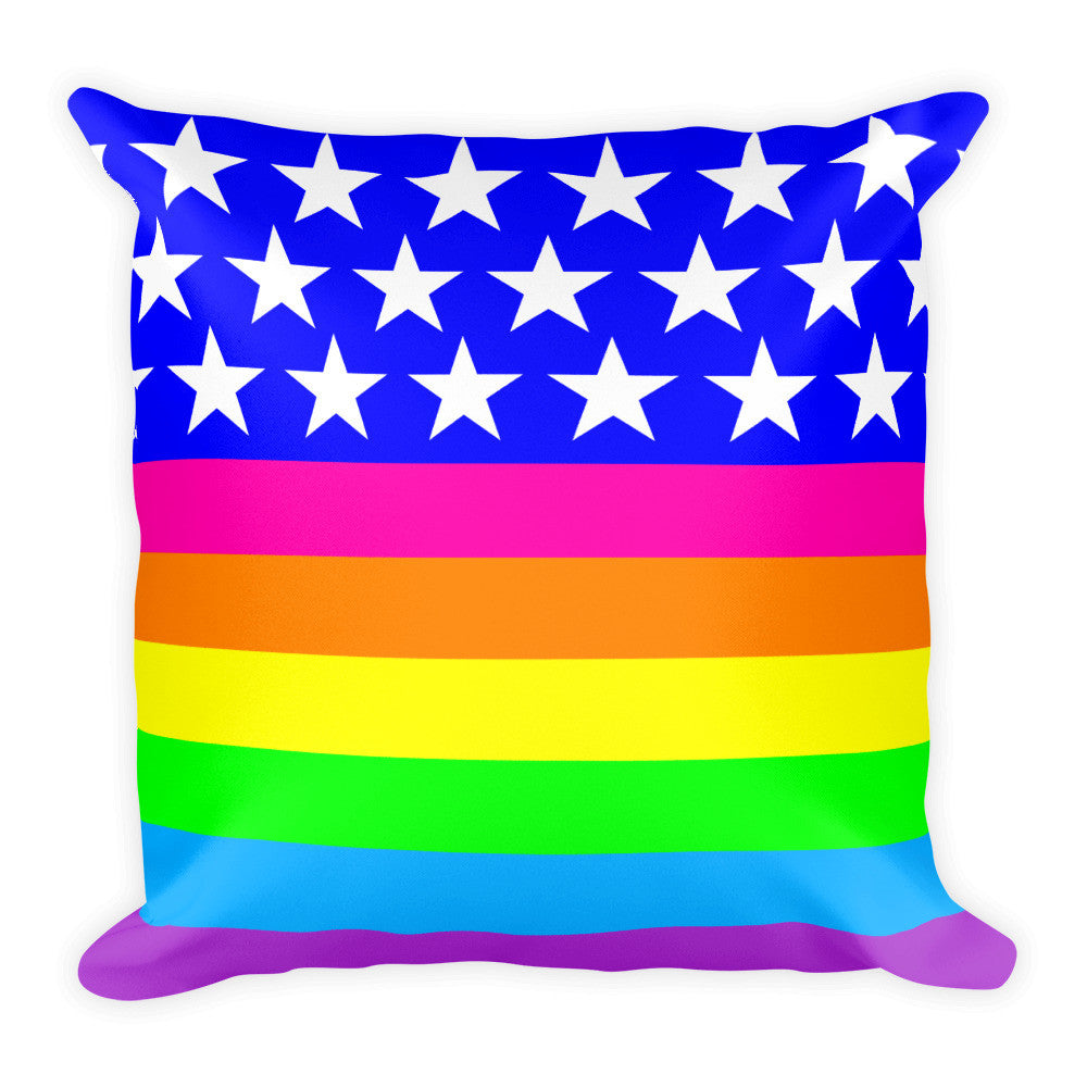 Queer Flag LGBTQ Pride Square Throw Pillow, Pillow, HEED THE HUM