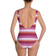 Lesbian Pride Flag Striped One-Piece Swimsuit