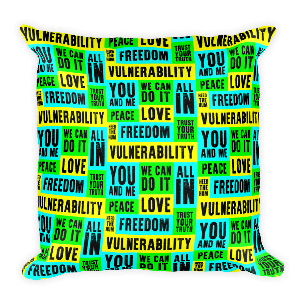 Vulnerability Square Throw Pillow, Pillow, HEED THE HUM