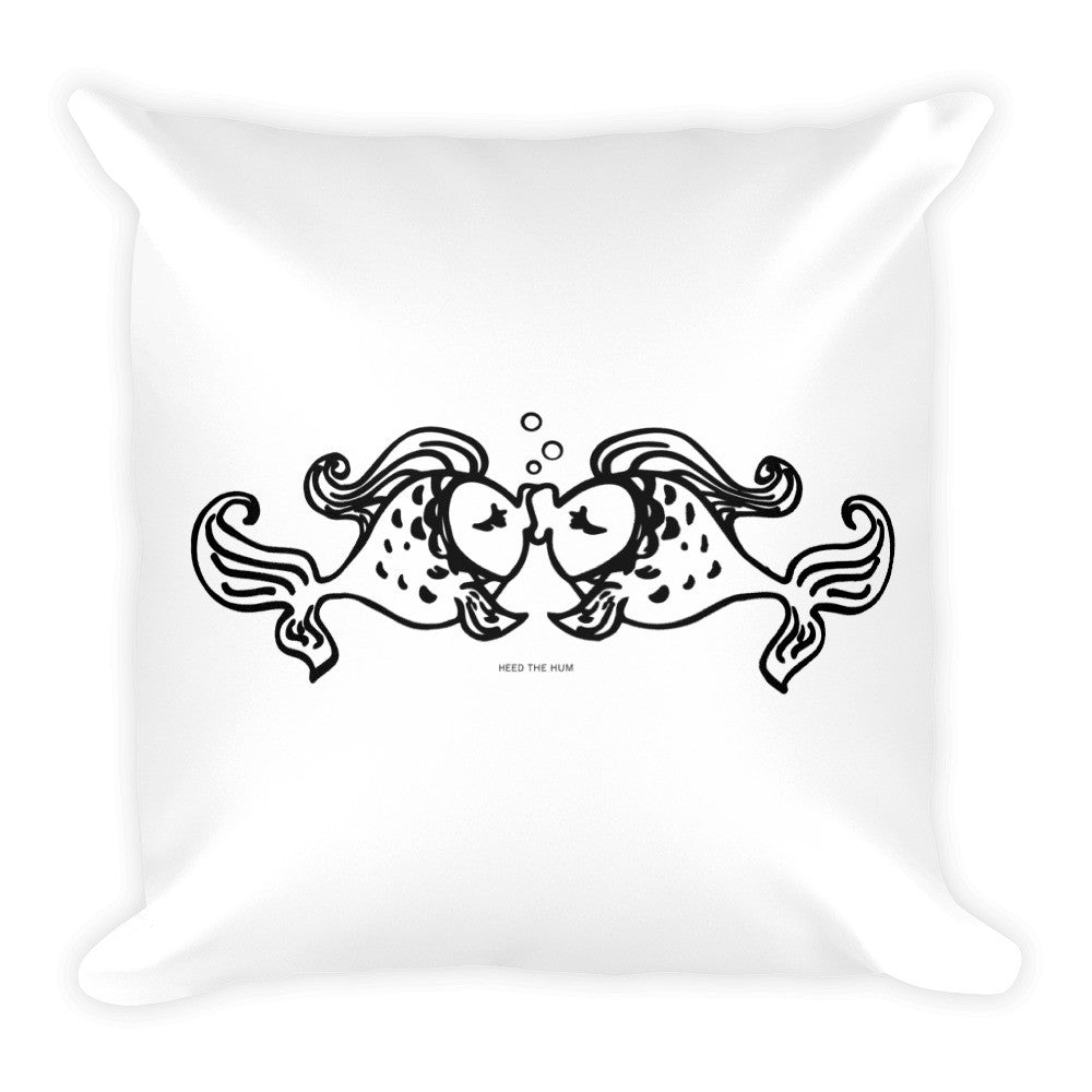 Fish Kiss Square Throw Pillow, Pillow, HEED THE HUM