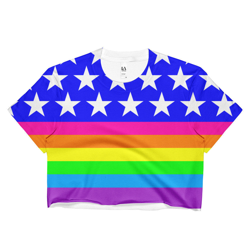 LGBTQ Queer Pride Rainbow Flag (double sided) Crop Top, Shirts, HEED THE HUM