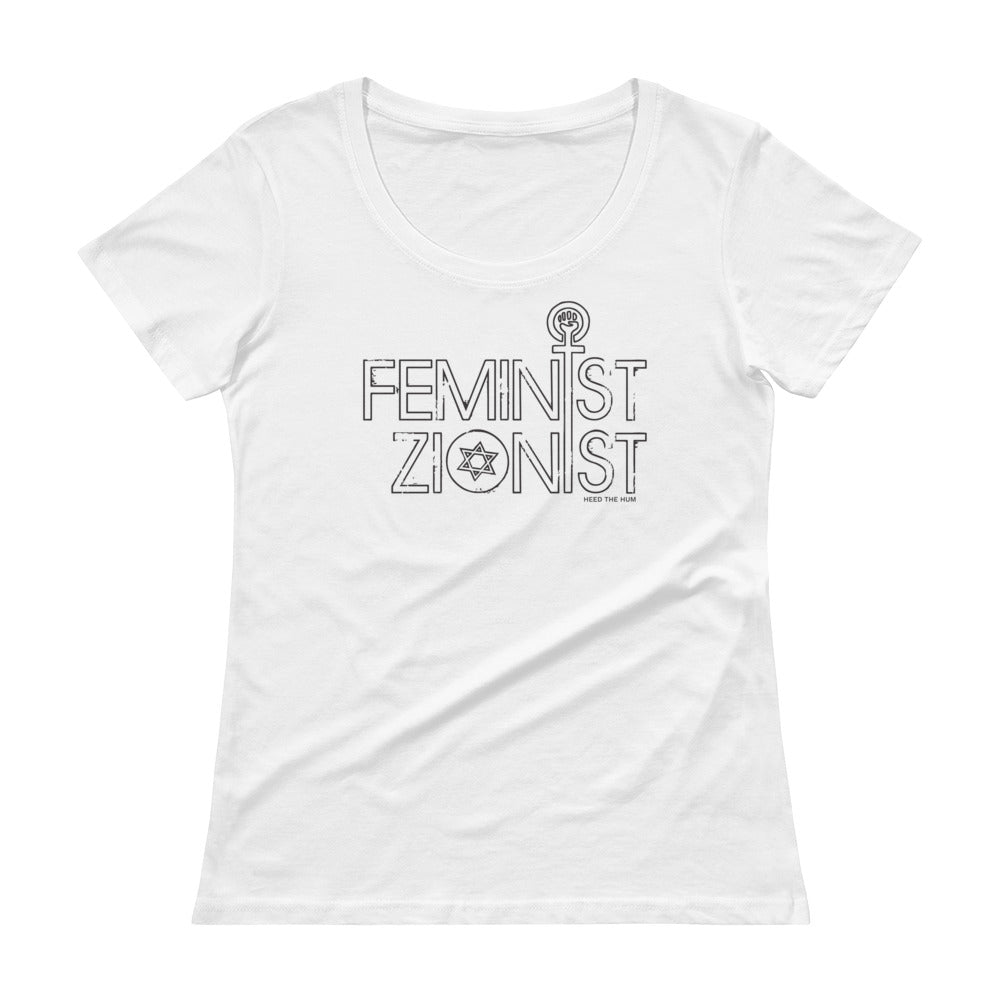 Feminist Zionist Women's Cut Scoopneck T-Shirt, Shirt, HEED THE HUM