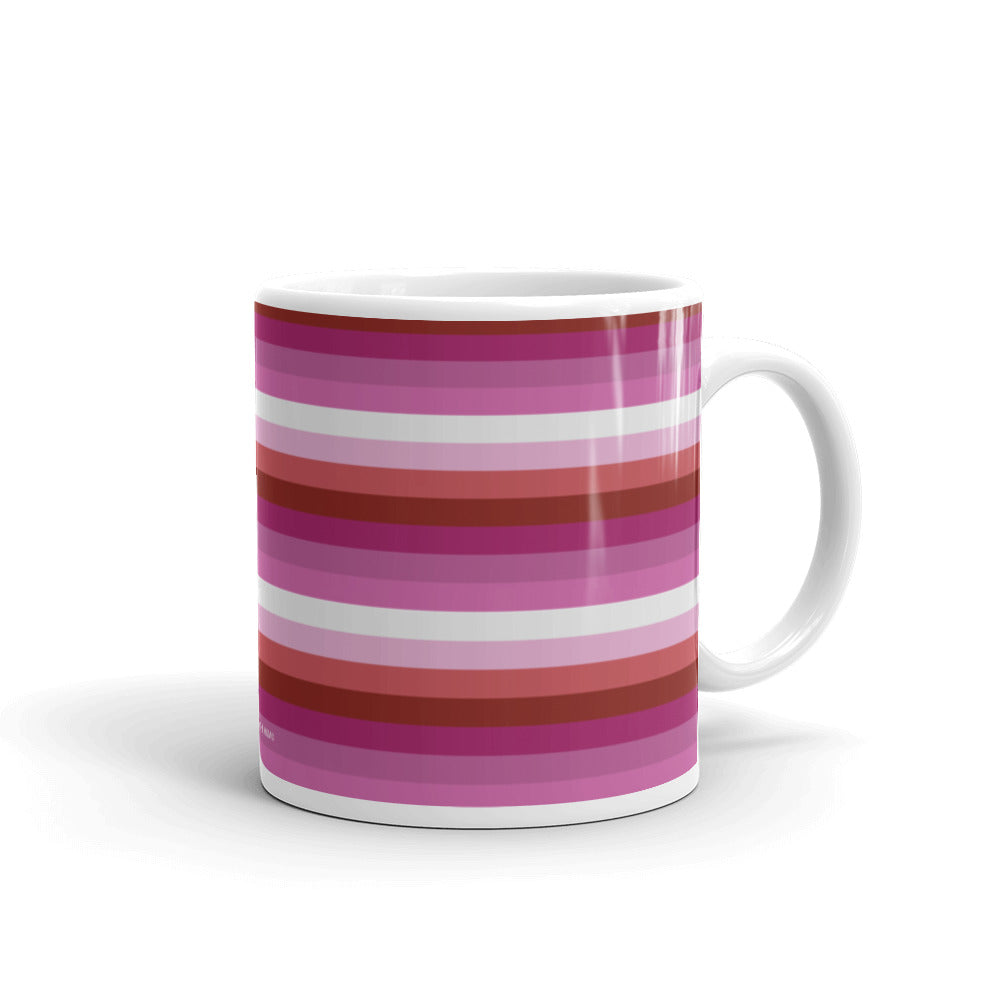 Lesbian Pride Flag Striped Mug - LGBTQ, Mug, HEED THE HUM