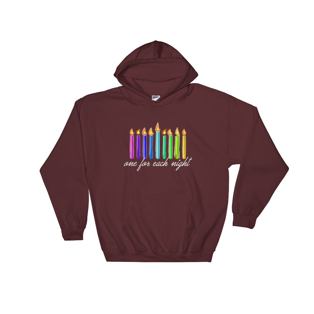 One For Each Night Chanukah Hooded Sweatshirt, Shirts, HEED THE HUM