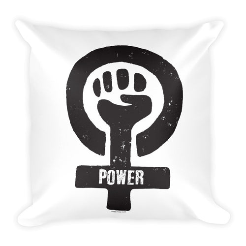 Feminist Power Square Throw Pillow, Pillow, HEED THE HUM