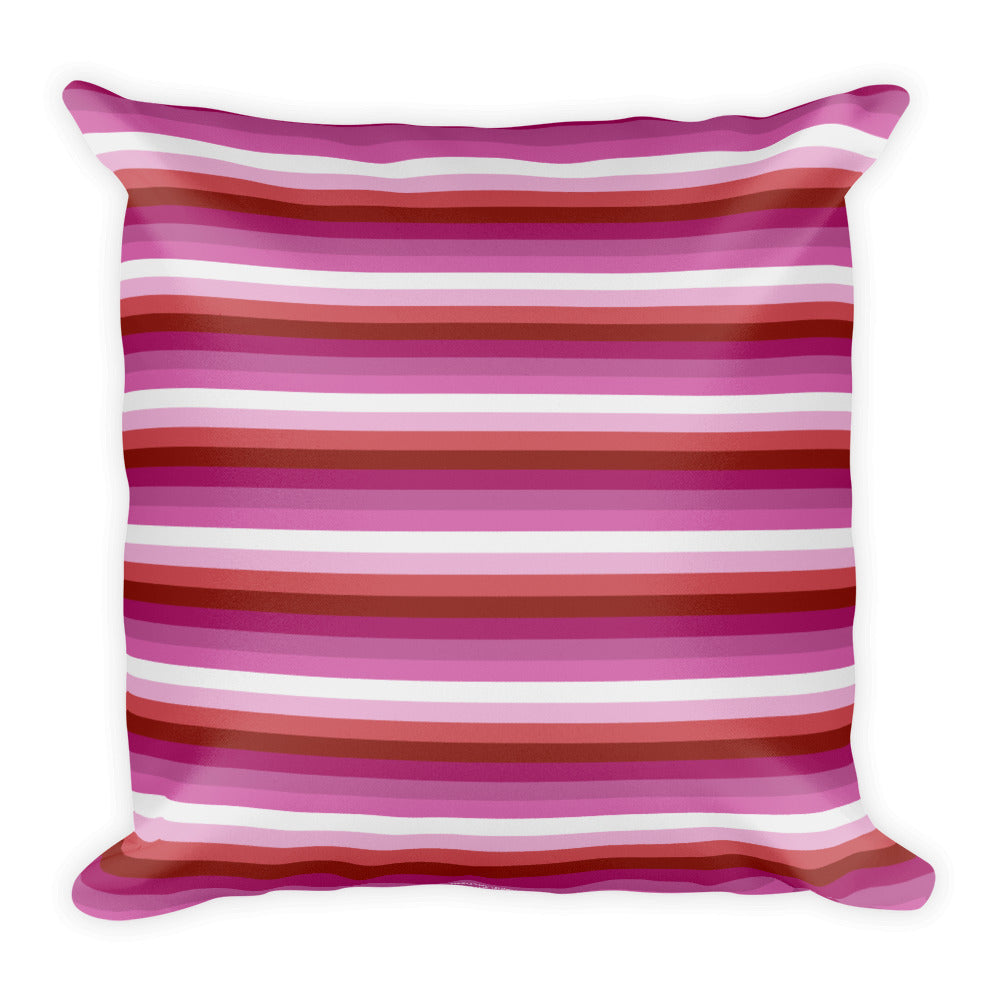 Lesbian Pride Flag Striped Square Pillow, Pillow, HEED THE HUM