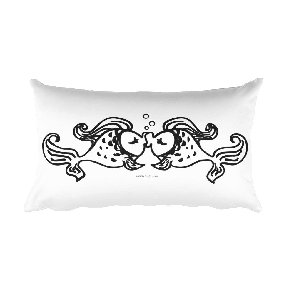Fish Kiss Rectangular Pillow, Pillow, HEED THE HUM
