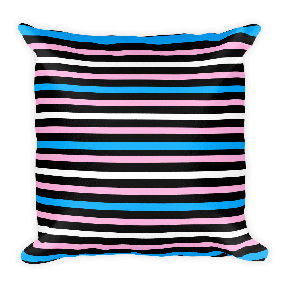Trans Pride Flag Striped Square Pillow, , HEED THE HUM