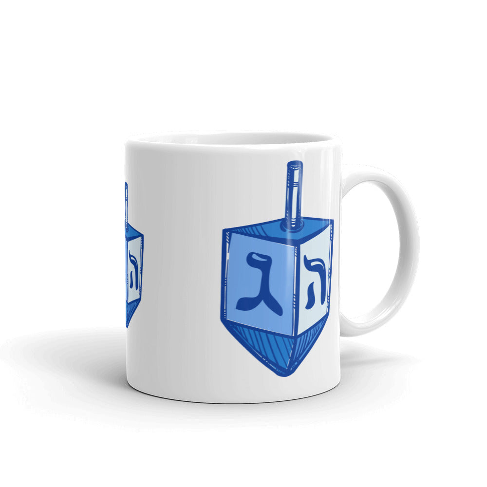 Blue Dreidel Chanukah Mug, Mug, HEED THE HUM