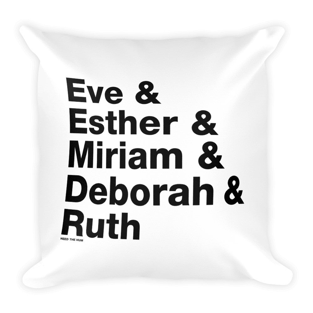 Women of the Bible Square Throw Pillow, Pillow, HEED THE HUM