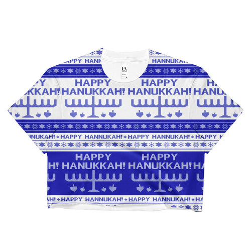 Happy Hanukkah Ugly Christmas Sweater Crop Top, Shirts, HEED THE HUM