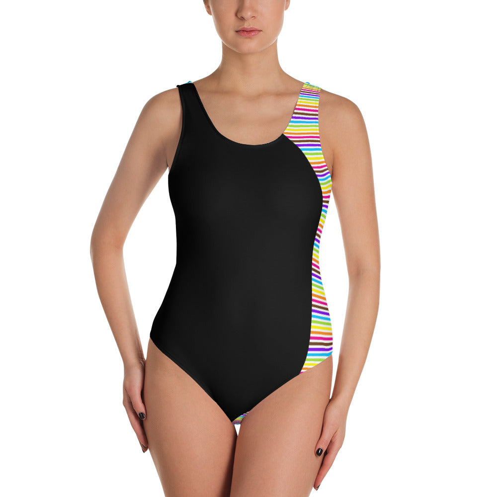 Rainbow Stripes One-Piece Swimsuit Bathing Suit, swimwear, HEED THE HUM