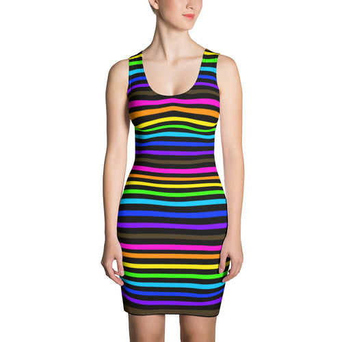 Rainbow Pride Striped Sublimation Cut & Sew Dress - LGBTQ