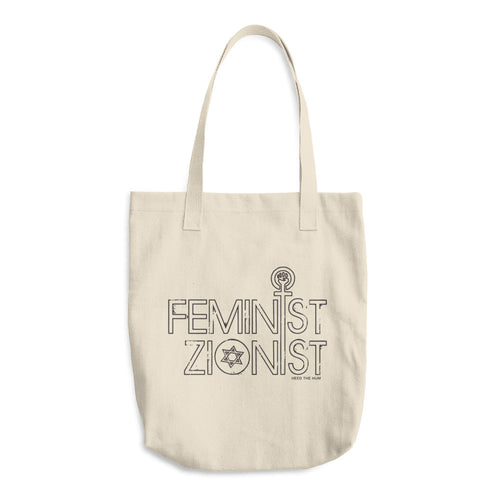 Feminist Zionist 13 oz Tote Bag, Tote Bag, HEED THE HUM