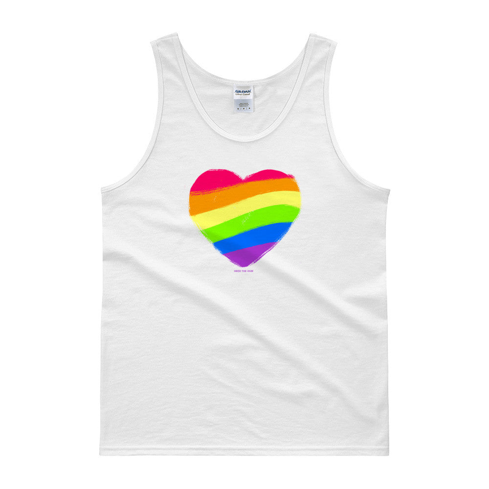 Rainbow Heart Unisex Tank top, Shirt, HEED THE HUM