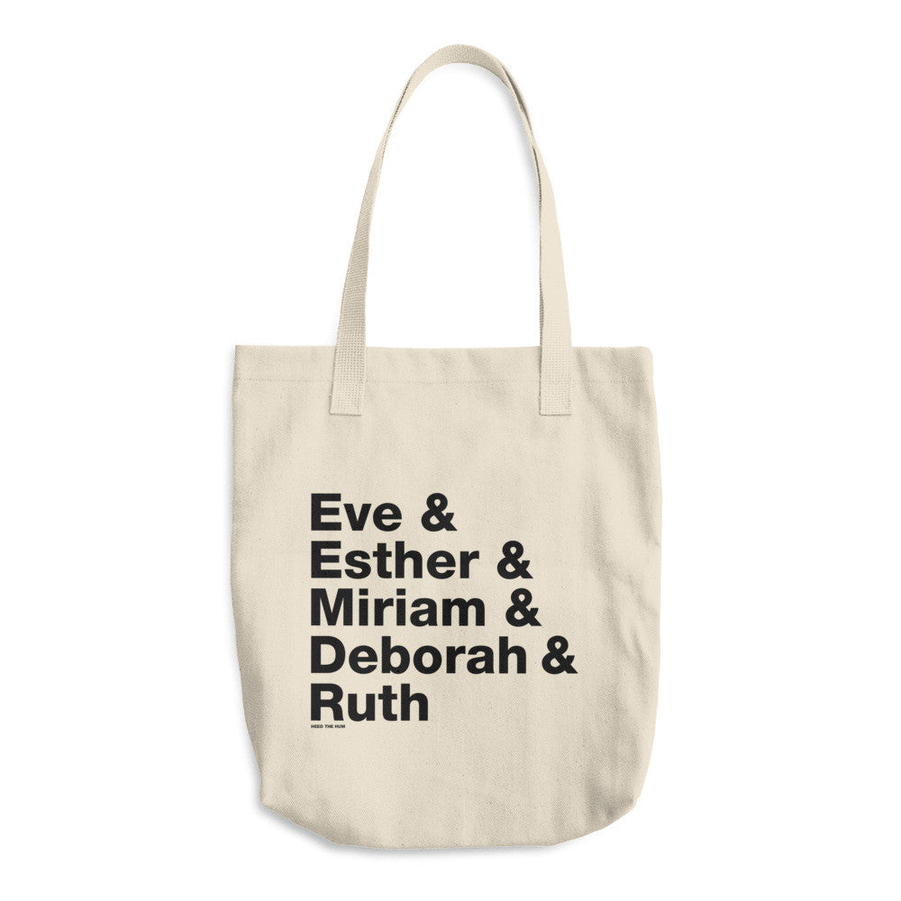 Women of the Bible 13 oz Cotton Tote Bag, Tote Bag, HEED THE HUM