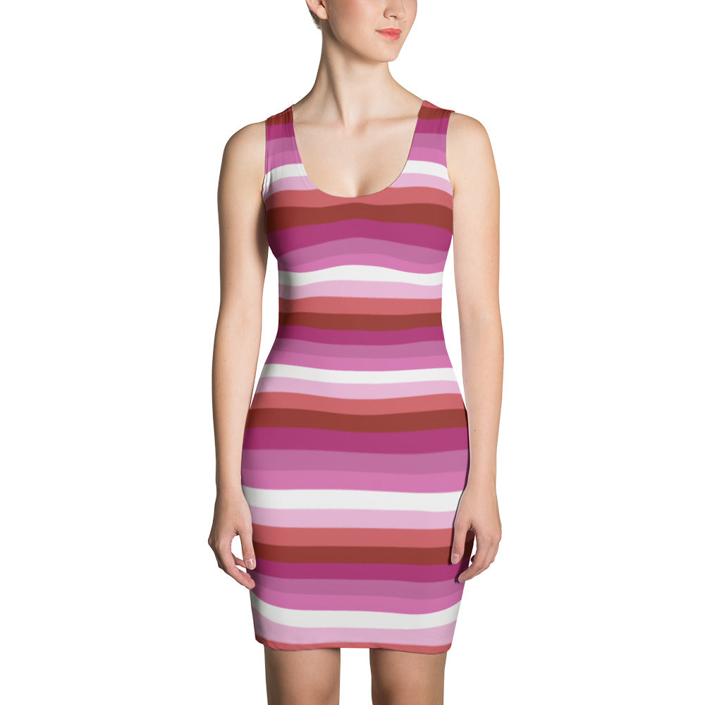 Lesbian Pride Flag Striped Sublimation Cut & Sew Dress, Dress, HEED THE HUM